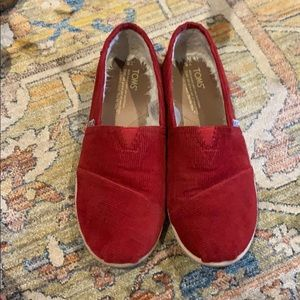Toms Red corduroy shoes